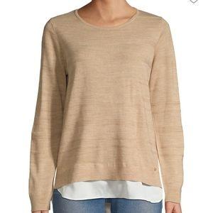 NWT Calvin Klein Layered Crewneck Knit Sweater